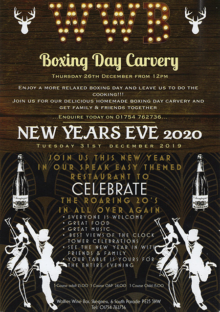 boxing day carvery and new years eve